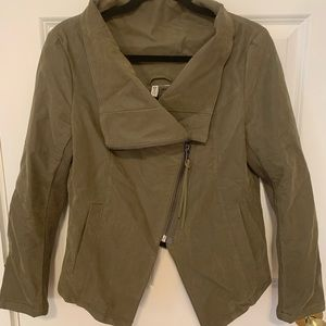 Army green funnel neck jacket